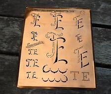 """Monogramm """" TE """" Wäschemonogramm Wäscheschablone Wäschezeichen 11/13 cm KUPFER"""