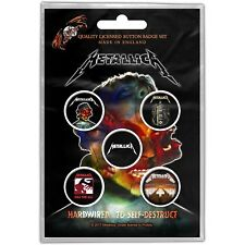 Metallica pack of 5 round pin badges (py)