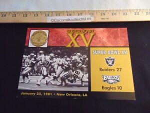 The Danbury Mint NFL Super Bowl Flip Coin Super Bowl 15 Oakland v Philadelphia