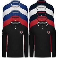 Mens Polo Sport Long Sleeve Pique T-Shirt Tipping Collar Horse Pony Shirt Top