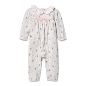 Janie and Jack Floral 1-Piece Baby Girl Gray / Pink ~ NWT ~ Size 12 to 18 Months