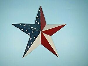 Barn Star Ornament Patriotic Tin Metal Country Primitive Red White & Blue 6 inch