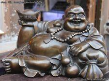 Tibet Buddhism Copper Bronze Lucky Wealth Yuan bao Rohan Maitreya Buddha Statue