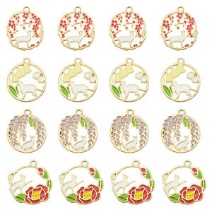 8PCS Colorful Enamel Alloy Hollow Cat Charms Flower Pendant for Jewelry Making