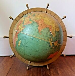 "Vintage 1945 WWII Era Replogle Globes 10"" Standard Globe Ship's Wheel Ring"