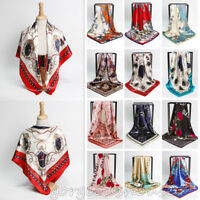 "Fashion Women's Print Hijab Scarfs Silk-Satin Square Office Head Shawl 35""*35"""