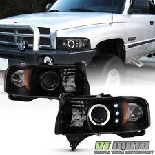 [Black Smoked] 1994-2001 Dodge Ram 1500 LED Halo Projector Headlights Headlamps