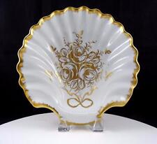 """LIMOGES FRANCE HAND PAINTED WHITE AND GOLD ENCRUSTED CLAM SHELL 10 1/4"""" BOWL"""