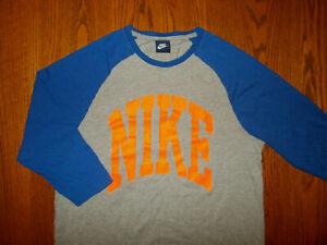 NIKE GRAY & BLUE 3/4 RAGLAN SLEEVE T-SHIRT MENS MEDIUM EXCELLENT CONDITION