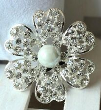Brooch Flower Rhinestone Faux Pearl Silver Plated Flower Brooch Bouquet Wedding