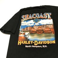Harley Davidson T Shirt Mens Adult M Black Seacoast New Hampshire North Hampton