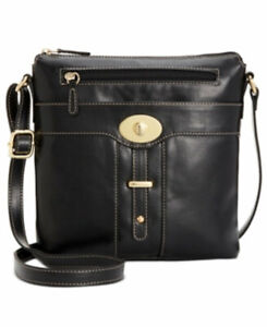 Giani Bernini Turn-Lock Glazed Crossbody Purse Black