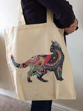 Louis Wain Mum Cat with Kittens Cotton Shopping Bag With Gusset Choice of Cols.