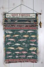 Gone Fishin Fishing Lure Tapestry Wall Hanging Cabin Lodge Man Cave Decor Plugs
