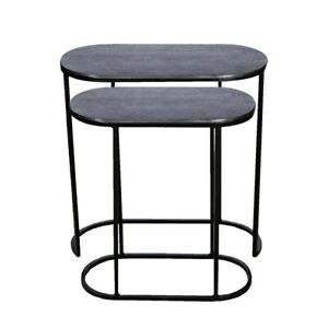Set of 2 OLIVIA 41 and 49cm Wide Nesting Oval Side Tables - Black Nickel
