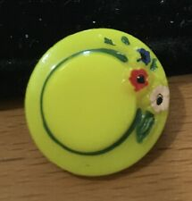 Vintage Yellow Glass Realistic Hat Button