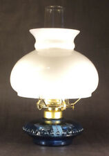 New Complete Medium Blue Glass Oil Lamp With Opal Student Shade, Chimney, Burner