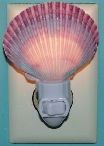SEASHELL NIGHT LIGHT PURPLE PECTEN, DECOR CRAFT REEF NAUTICAL BEACH