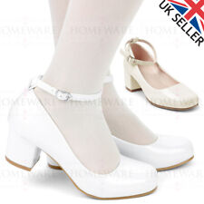 Zapatos de chicas Comunión Boda patente Blanco Marfil Mary Jane Correa De Tobillo Talón Mediados