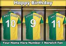 A5 personalised football Norwich Dressing Room Birthday Card PIDS17 no1 Fan
