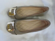 Forever Ballet Flats Size 8 M NWOB Beige Gold Buckle Padded Insole Nonskid Round