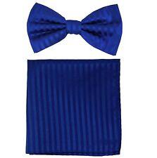 New formal men's pre tied Bow tie & Pocket Square Hankie stripes Royal blue prom
