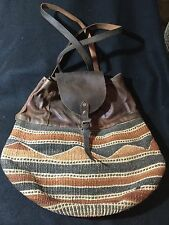 Authentic Vtg Traditional African Kenya Baobab Basket Leather Handbag Backpack