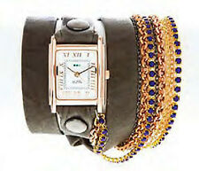 La Mer Sapphire Crystal Chain Gold Square Wrap Watch