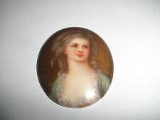 Antique Victorian Firenze porcelain Painted Miniature Portrait of Grafin Potocka