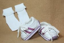 Doll Shoes fitting 18 in American Girl Sparkling White & Lilac Tennis Shoe Socks