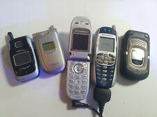 Lot of 5 Vintage Cell Phone for parts/repair Nokia, Samsung, Kyocera, Motorola