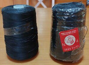 2 rocche 3000 YDS cadauna n.4 filato puro cotone nero Stik, anni '70