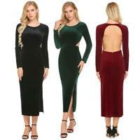 Women Long Sleeve Backless Split Solid Velvet Long Maxi Party Dress H1PS 01
