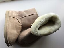 Girl Ladies BEIGE Fur-Lined PULLON FLAT Heel SNUGG Warm WINTER Ankle BOOT UK 5/6