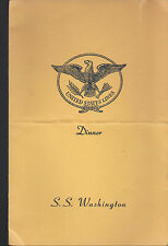 SS Washington Dinner Menu August 9 1951 United States Lines