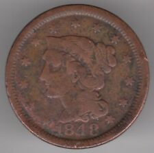 United States 1 Cent 1848 Bronze Coin - Braided Hair Lberty head