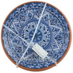 Tommy Bahama Olympus Tile Blue Spanish Dinner Plates Melamine Set of 4