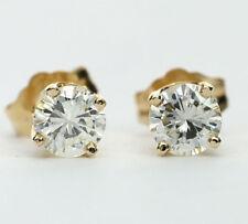 Diamond stud earrings 14K yellow gold 2 VVS clarity round brilliants .70CT studs