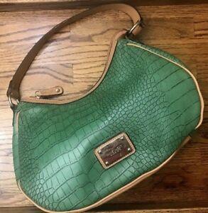 Nine West Green Tan Crocodile Shoulder Bag Purse Tan Strap Metal Designer Emblem