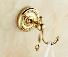 Golden Polished Brass Wall Mounted Bathroom Hardware Double Robe Hook Kba450