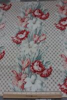 Vintage Shabby Faded Roses & Lilies Waverly Cotton Home Fabric Sample c1940
