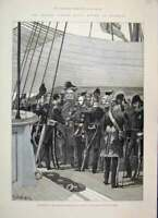 Original Old Antique Print 1887 Spithead Prince Wales Naval Officers Ship 19th