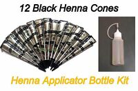 12 Black Color Henna Tattoo Cones + Applicator Bottle Kit Temporary Body Ink