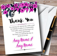 Watercolour Black & Hot Pink Floral Header Personalised Wedding Thank You Cards