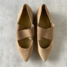 Stuart Weitzman Beige Suede Pointed Toe Elastic Strap Flats Size 7.5