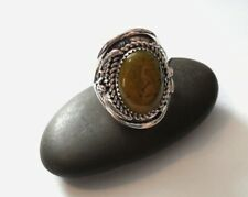 Saddle Ring Sz 9.5 Sterling Silver Green/Brown Turquoise