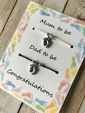 Mum Dad to be pregnancy charm baby shower bracelets gift
