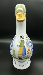 Henriot Quimper Handpainted White Duck Goose Vase Planter Breton Woman