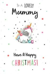 CHRISTMAS CARD TO A LOVELY MUMMY - COLOURFUL UNICORN, ROBIN, BAUBLES