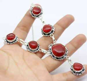 """Carnelian 925 Silver Plated Handmade Gemstone Necklace of  18"""" Ethnic Gift"""